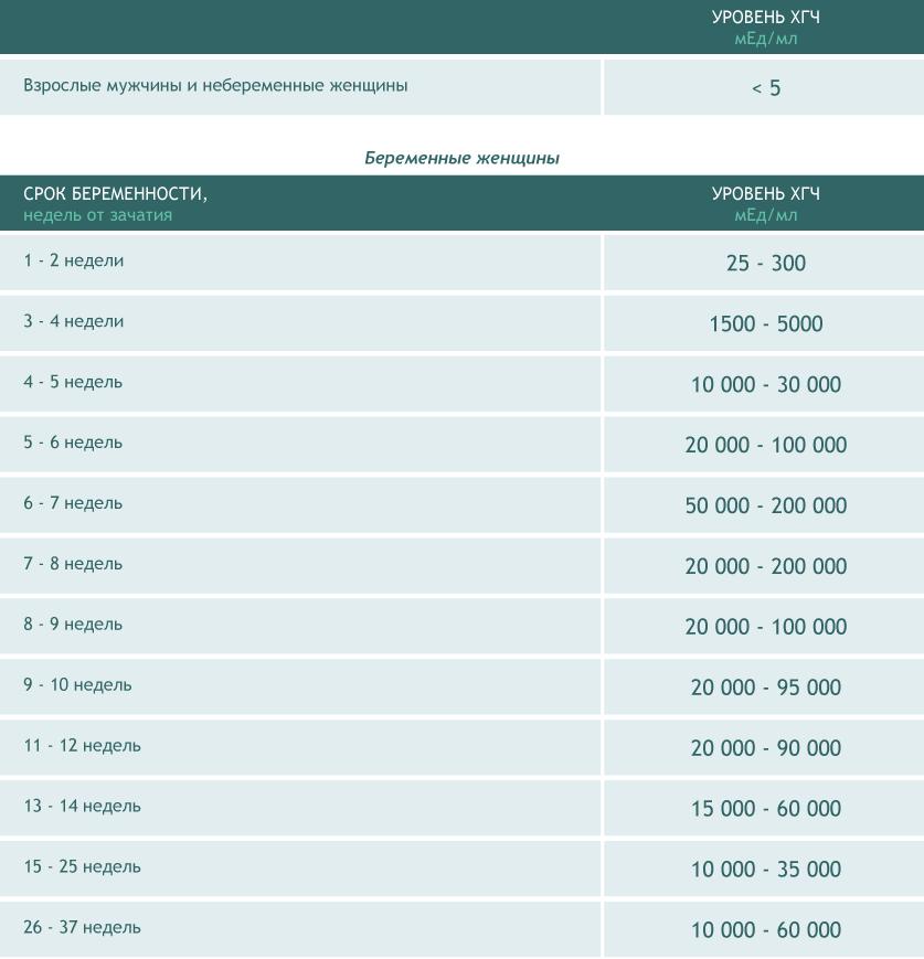 Таблица для анализа ХГЧ