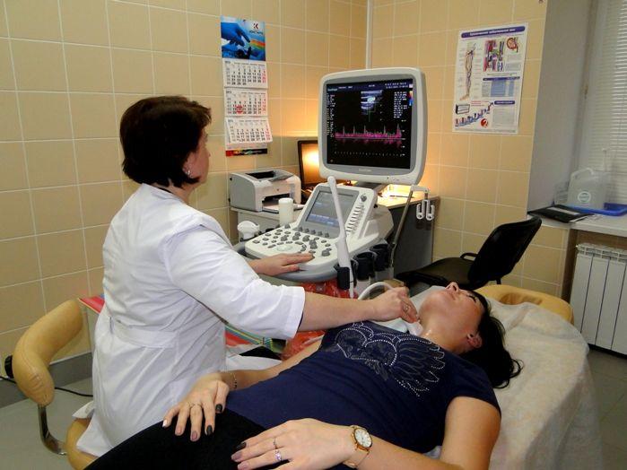 Женщина на УЗИ щитовидной железы